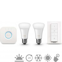 HUE Starter set White ambiance 2 E27 A19 9.5W + Bridge + Dimm Switch 8718696548691 doprodej
